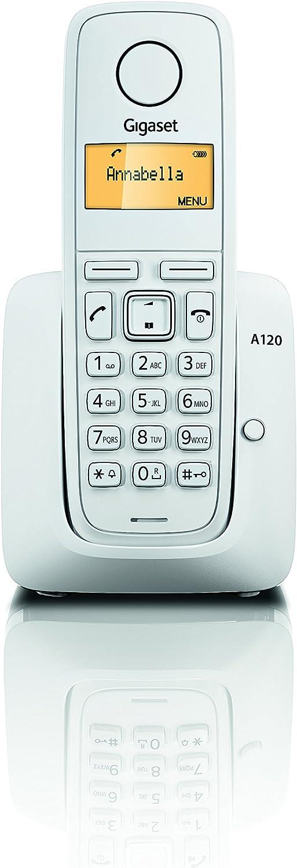 Gigaset A120 - Teléfono Inalámbrico, Agenda de 50 Contactos, Pantalla Iluminada, Color Blanco