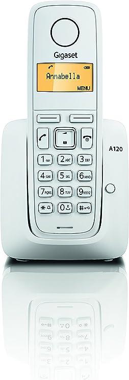 Gigaset A120 - Teléfono Inalámbrico, Agenda de 50 Contactos, Pantalla Iluminada, Color Blanco: SIEMENS: Amazon.es: Electrónica