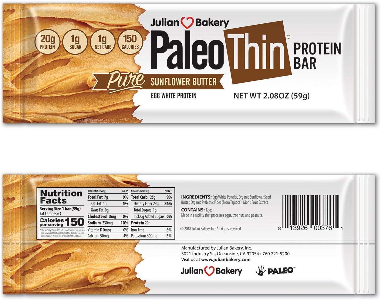 Julian Bakery Paleo Thin Protein Bar | Sunflower Butter | Egg White Protein | 20g Protein | 1 Net Carb | 12 Bars