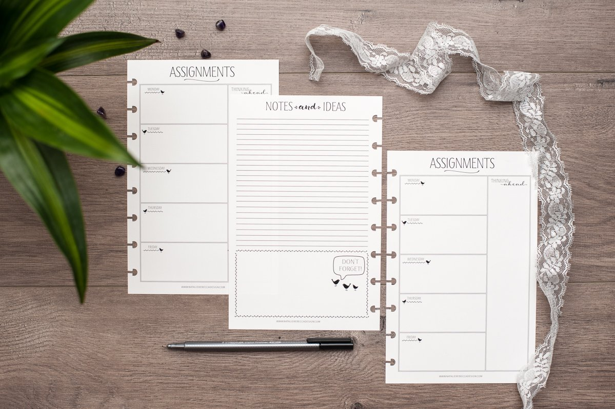Assignment Tracker for Disc-Bound Planners, Half Letter Size, Fits Circa Junior, Arc by Staples, 5.5''x8.5''