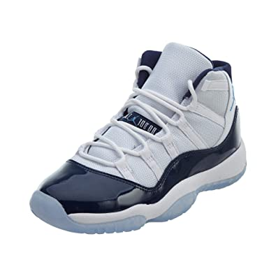 Nike Air Jordan 11 Retro Men s Shoes in White Fabric and Blue Leather  378038-123 b94f7b4ee