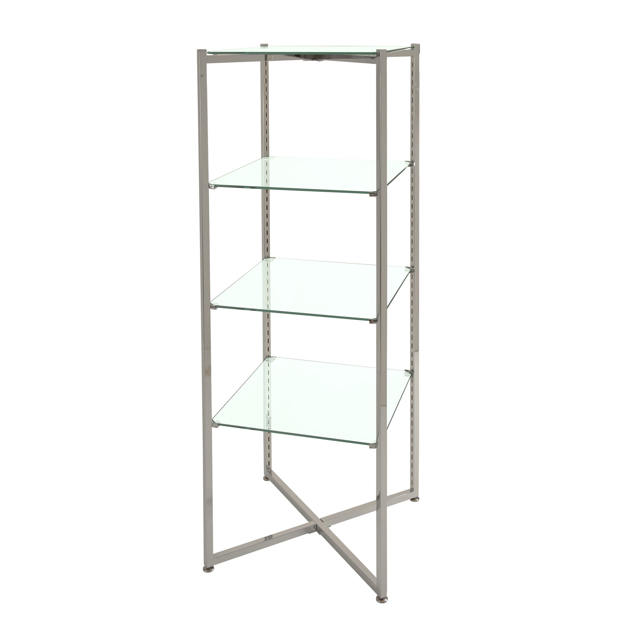 Econoco Folding Glass Towers with Chrome Finish, 52'' Height