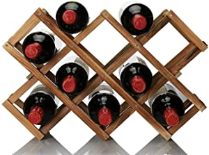 OPPIS Criss-Cross Wine Holder, Foldable Wooden Wine Rack Drink Bottle Storage Organizer, Free Standing 10 Bottles Capacity Wine Display Shelf Stand for Countertop Home Kitchen Cabinet Bar-Carbonized