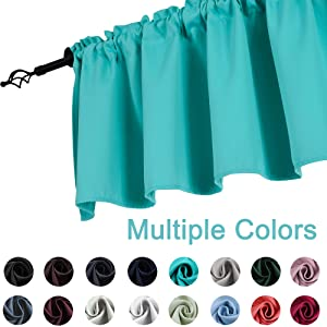 KEQIAOSUOCAI Turquoise Window Valance for Kitchen 52-inch by 18-inch Rod Pocket Blackout Short Curtain Valance, 1 Panel