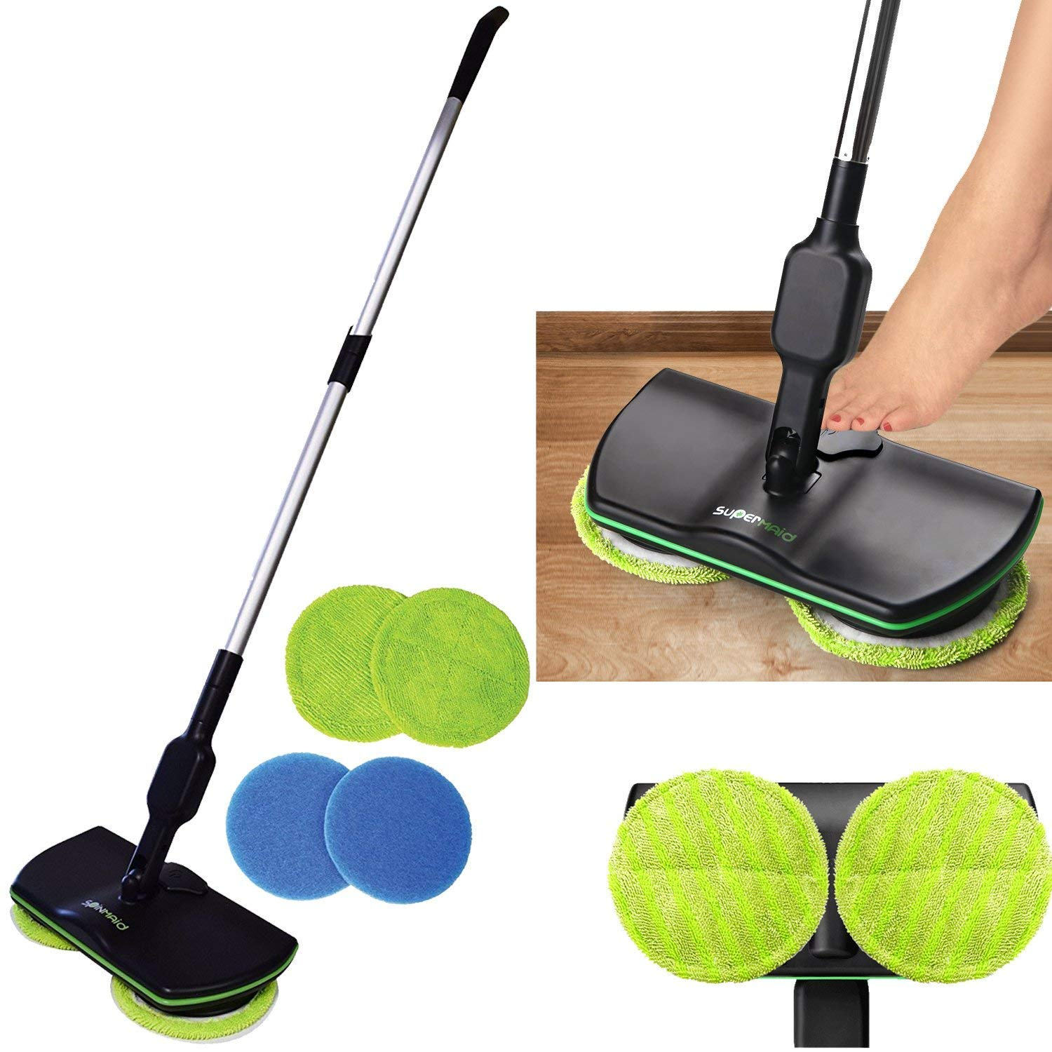 3-in-1 Cordless Super Spin Floor Electronic Mop, Rechargeable, Polisher and Scrubber, Reusable Microfiber Double Heads Treeshu