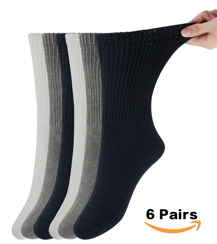 MD Diabetic Socks Mens and Womens Half Cushion Circulatory Crew Socks for Winter Loose Fit 6 Pack 10-13 2Black/2White/2Grey
