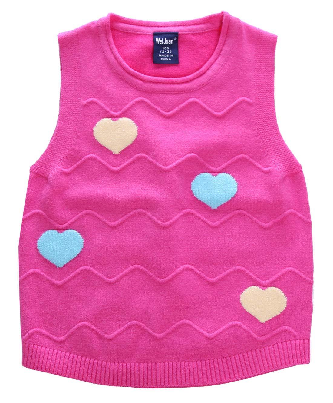 Big Girls Vest Crewneck Sweater Sleeveless Pullover Colored Love Hearts Waistcoat 6-7T Rose