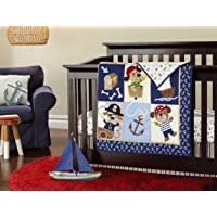 New 7pcs Baby Boy Caribbean Pirates Crib Bedding Set