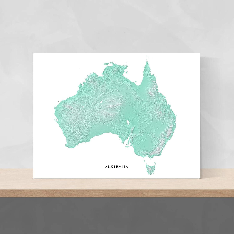 Australia Map Art.Amazon Com Australia Map Print Aqua Landscape Art Poster Wall