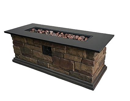 Beau Granite Top 20 In W 50,000 BTU Stone Look Composite Liquid Propane Fire Pit