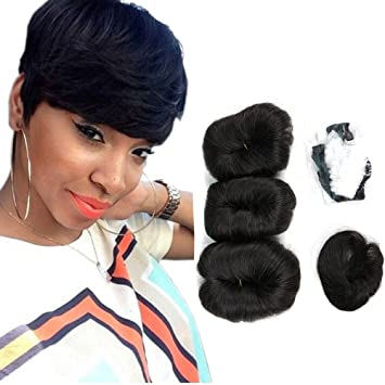 Human Hair Short Weave Brazilian Virgin Hair Extensions 27 Pieces Short Hair Weave With Free Closure And Shower Cap 4inches Color 1b