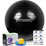 arteesol Exercise Ball 45cm/55cm/65cm/75cm/85cm Yoga Ball, Multiple Color Anti-Burst Birthing Ball Pregnancy Ball, Ball…