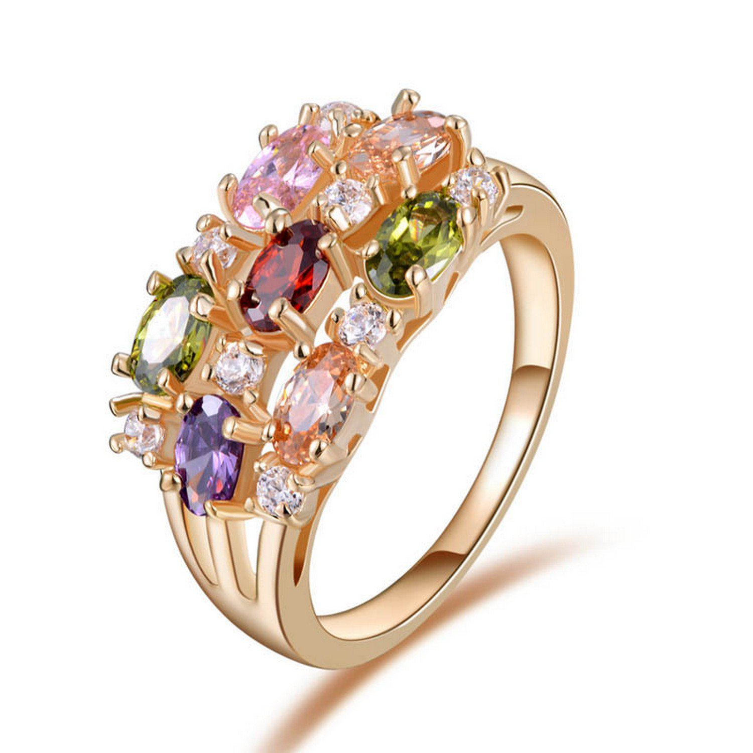 Dudee Luxury Rose Gold Color Zircon Paved cz engagement ring fashionable rings