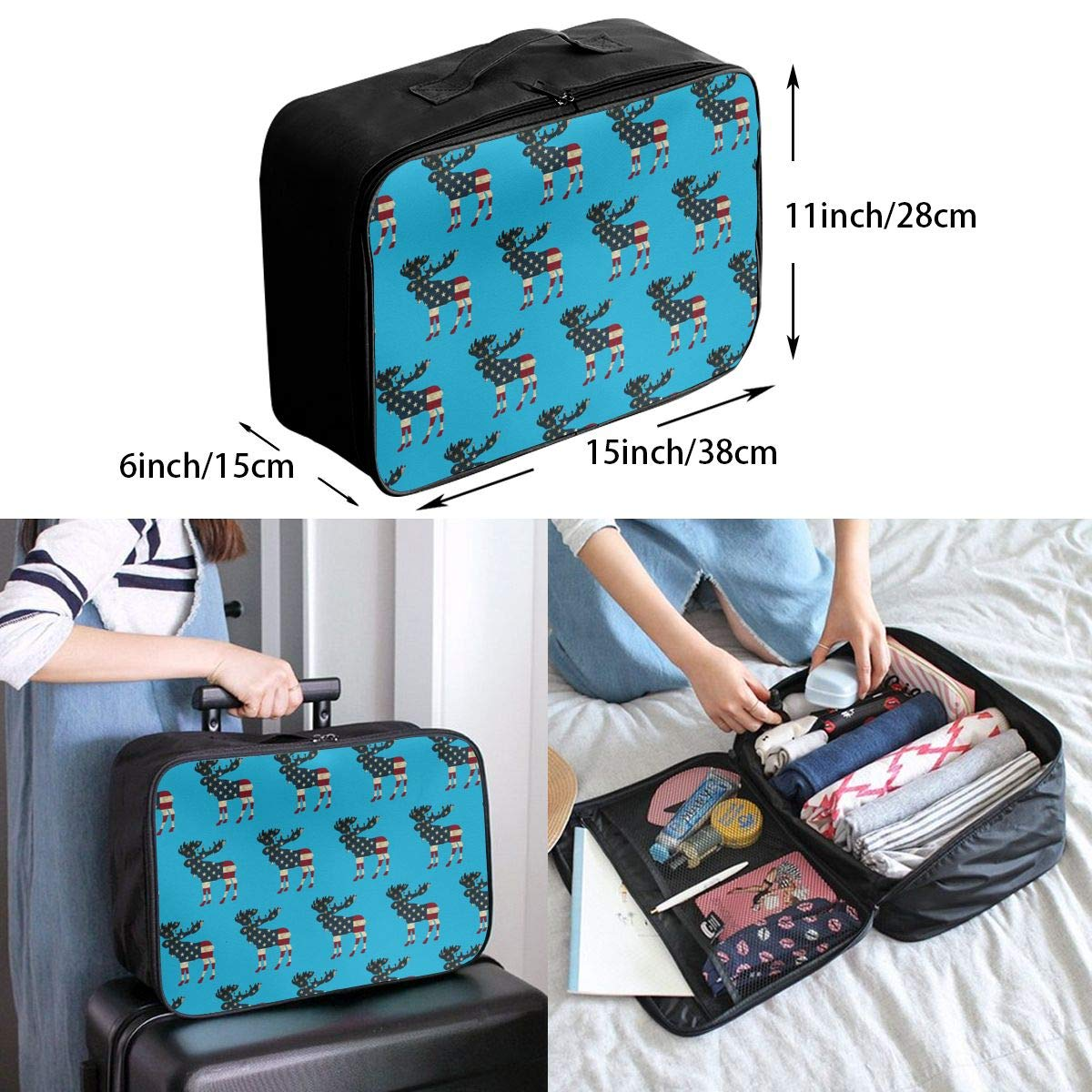 YueLJB USA Flag Moose Pattern Lightweight Large Capacity Portable Luggage Bag Travel Duffel Bag Storage Carry Luggage Duffle Tote Bag