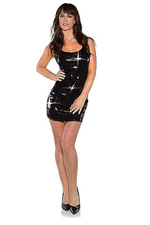 ed1177b913a9 Underwraps Costumes Women's Short Sequin Dress Costume Short, Black, X-Small