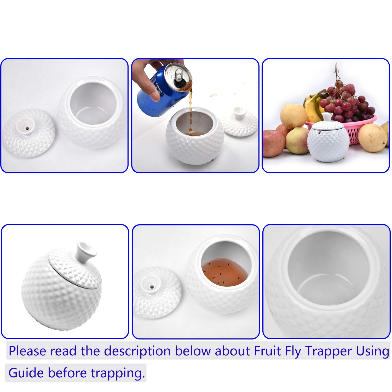 ATHORBOT Fruit Fly Catcher Trapper for Home Kitchens Natural Pest Control Chemical Free Nontoxic Decorative Kid and Pet Friendly (White), ONE Size