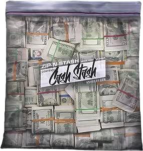 "Steelplant Cash Stash - Cash in Ziplock Pillowcase,Money Green,17Wx19H inch case for a 18"" - 20"" insert"