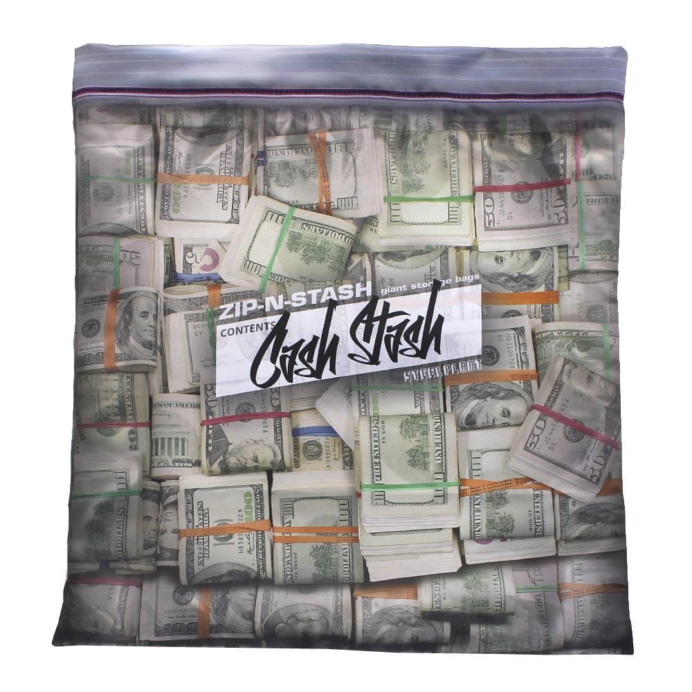 Steelplant Cash Stash - Cash in Ziplock Pillowcase,Money Green,17Wx19H inch case for a 18'' - 20'' insert