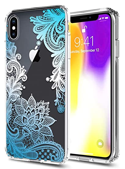 hot sale online a9284 b0e3a iPhone Xs Max Case, XS Max Case, iPhone 10(Ten) S Max Case Huness TPU Grip  Bumper and Clear Flower Transparent Hard PC Backplate Hybrid Slim Phone ...