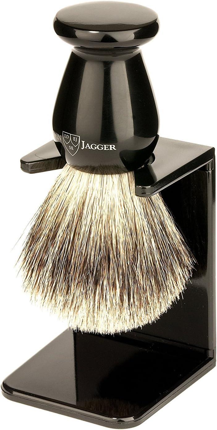 Edwin Jagger Brocha de Afeitar de Tejón con Soporte de Goteo, Tamaño Medio, Color Ébano - 1 Pack