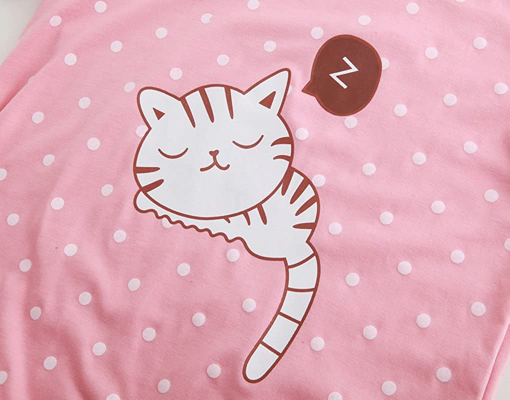 55697d687e88 Amazon.com  MyFav Young Girls Pajama Cute Cat Pattern Nighty Comfy Shorts  Cotton Sleepwear  Clothing