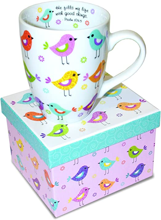 Amazon Com Divinity Boutique Inspirational Ceramic Mug With Birds Psalm 103 5 He Fills My Life With Good Things Multicolor One Size Kitchen Dining