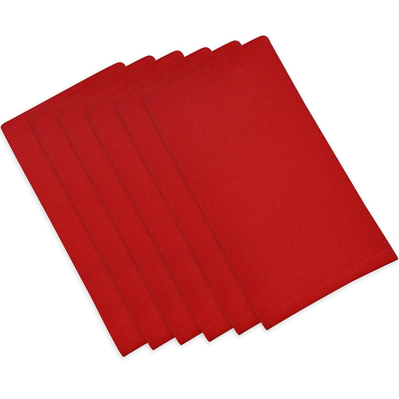 ITOS365 100% Cotton, Oversized Basic Everyday 21'' x 21'' Napkin, Set of 6, Red