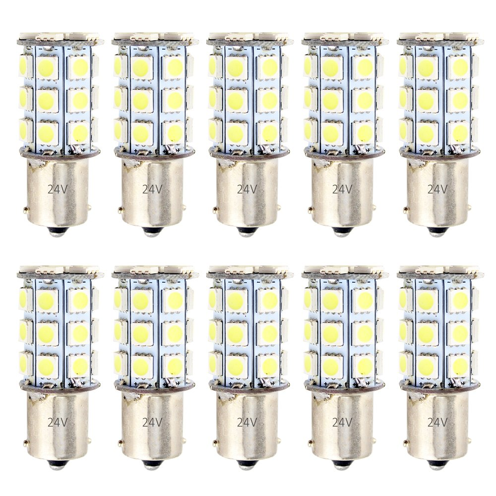 EverBrightt 10-Pack White S25 5050 1156 BA15S / 1141 Base 27SMD LED Replacement Bulb For RV Camper SUV MPV Car Turn Tail Signal Bulb Brake Light Lamp Backup Lamps Bulbs High LUMS (DC-12V) TL0027