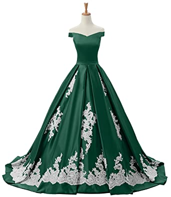 DressyMe Womens Off Sholder Evening Dresses Floral Lace Wedding Gown Ball Gown-2-Dark