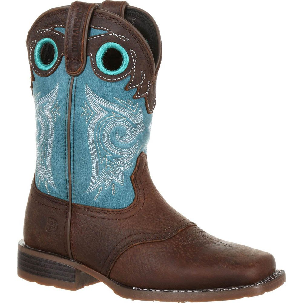 Durango Kid's Lil' Mustang Western Saddle Boots, Brown, Full-Grain Leather Vamp, Fiberglass, Mesh, Man-Made, 13 US Little Kid M