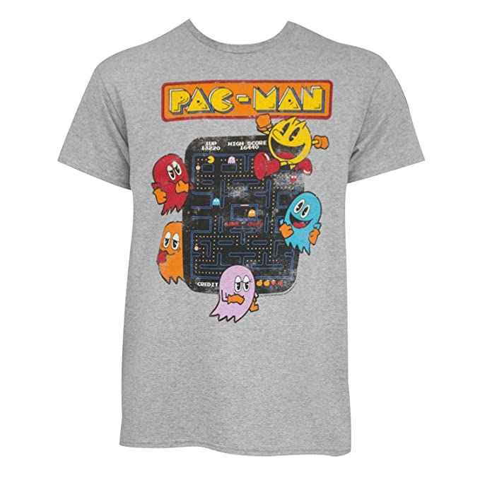 LIcensed Vintage Distressed 80s Style Pac-Man T-shirt for Men, Size Medium