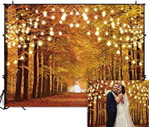 Funnytree 8x6FT Durable Fabric Glitter Autumn Forest Photography Backdrop Sparkle Natural Scenery Fall Landscape Leaves Party Banner Backgound Decor Photo Booth