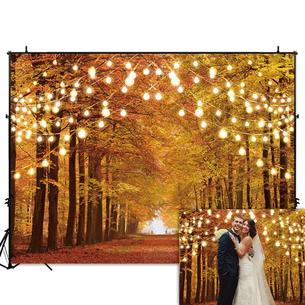 Funnytree 8x6FT Durable Fabric Glitter Autumn Forest Photography Backdrop Sparkle Natural Scenery Fall Landscape Leaves Party Banner Backgound Decor Photo Booth by Funnytree