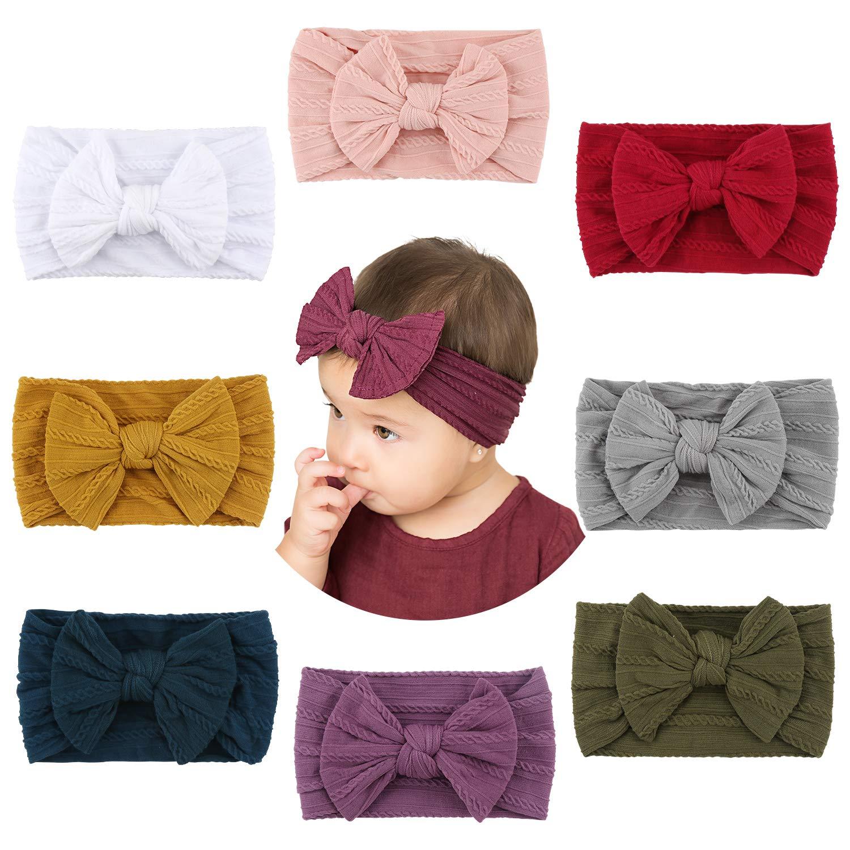 Handmade Stretchy Nylon Stirnband mit B/ögen Pom Pom Br/ötchen 5,5 Zoll Big Hair Bow Stirnband f/ür Infant Baby Girls 8PCS Makone Baby Stirnband
