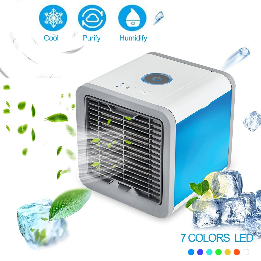 SUNMAY Personal Space Air Cooler, 3-in-1 Portable Mini Cooler, Humidifier & Purifier, Desktop Air Conditioner Fan with 3 Speeds and 7 Colors LED Lights for Office, Home