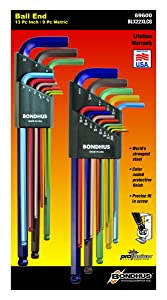 Bondhus 69600 Ball End Double Pack L-Wrench Set with ColorGuard, 13 Piece