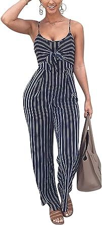 Amazon Com Jinting Enterizo Para Mujeres De Tirantes Sin Mangas Pantalones De Pierna Ancha Pantalones Largos Espalda Cortada Enterizo De Rayas Casual Clothing