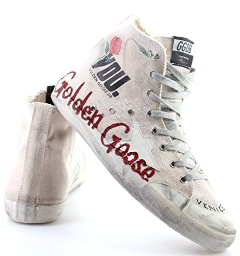 Zapatos Hombres Sneakers Alta GOLDEN GOOSE Francy Cream Canvas Glitter Memory IT: Amazon.es: Zapatos y complementos