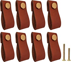 Litanco 8Pcs Leather Drawer Pulls for Cabinet Dresser - Genuine Full-Grain Brown Leather Pulls with Gold Knobs - Great for Kitchen Cabinet Handles, Pull Handle for Cupboard Drawers