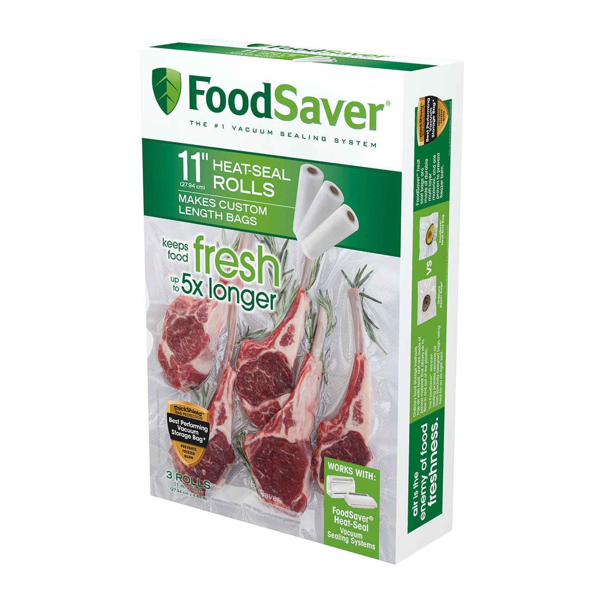 FoodSaver 11'' x 16' Vacuum Seal Roll with BPA-Free Multilayer Construction for Food Preservation, 3-Pack