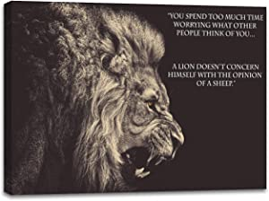 """Inspiring Quotes Wall Decor Wall Art Inspirational Poster Motivational Canvas Prints Pictures - A Lion Doesnt't Concern Himself with The Opinion of A Sheep(20"""" x 28"""")"""