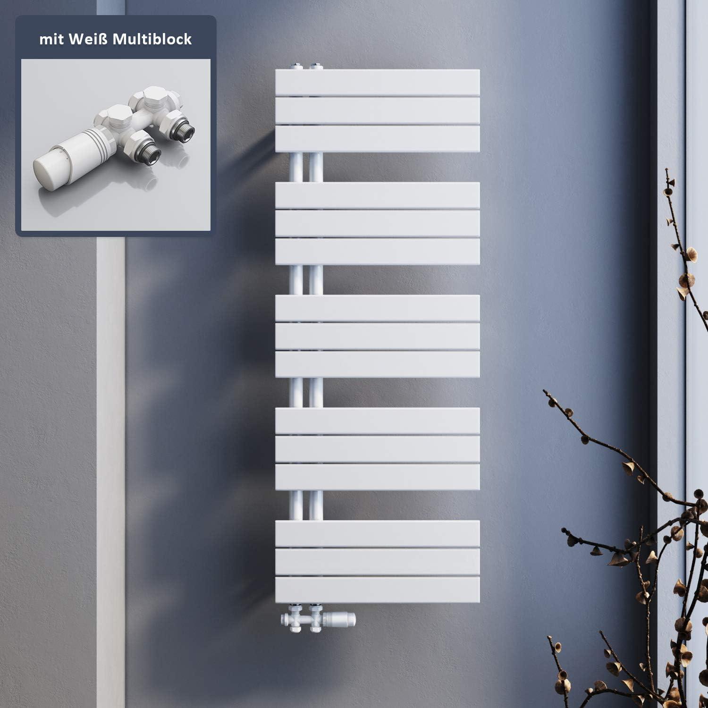 SONNI Badheizk/örper 1314x500mm Handtuchtrockner Heizung wei/ß Flach Design Hantuchw/ärmer Bad Mittelanschluss seitlich 1160 Watt mit Chrom Multiblock Thermostat