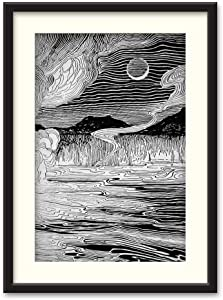 NWT Black Paper Framed Canvas Wall Art for Living Room, Bedroom Beasts Black and White Canvas Prints for Home Decoration Ready to Hanging - 23x31 inches