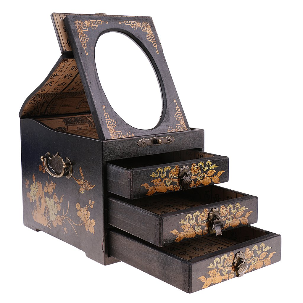 Baoblaze Home Decorative Green Drawer Chest Dresser for Jewelry Watch Necklace Case Home Ornament - Black, as described
