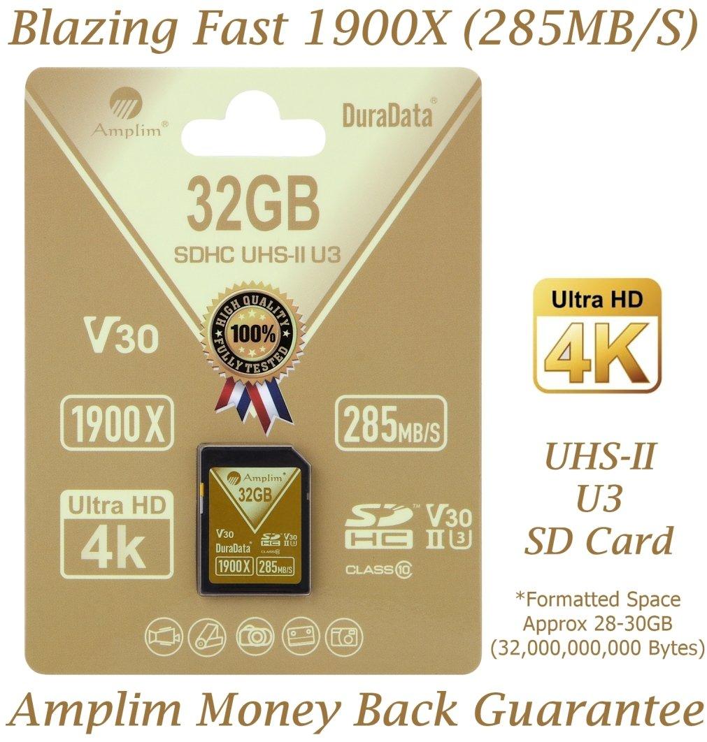 Amplim 32GB UHS-II SDHC SD Card Blazing Fast Read 285MB/S (1900X) Class 10 U3 Ultra High Speed V30 UHSII Extreme Pro SD HC Memory Card. Professional 4K Full HD Video Shooting 32 GB / 32G TF Flash 4335045823