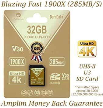 Amplim 32GB UHS-II SD Card: Ultra Pro Extreme 32MB/S (1900X) V30 U3 Class 10 High Speed UHSII SDXC Flash Memory for Professional 4K 8K 3D HDR 360 Full ...