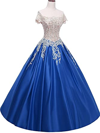 Angela Off Shoulder Lace Prom Dresses Ball Gown Quinceanera Dresses Cheap Long Satin AN021 - Multi
