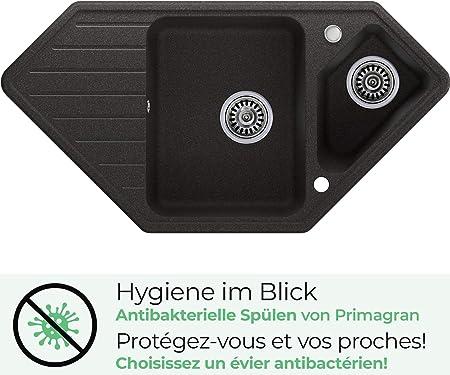 1 bac /évier de cuisine Blanc avec siphon automatique /Évier granit Primagran
