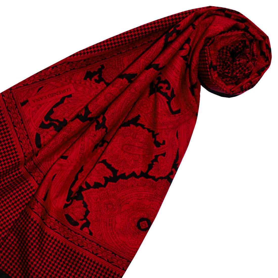 LORENZO CANA High End Scarf Pashmina Shawl 65/% Cotton 35/% Silk Printed Paisley Pattern Harmonious Colors 43 x 43