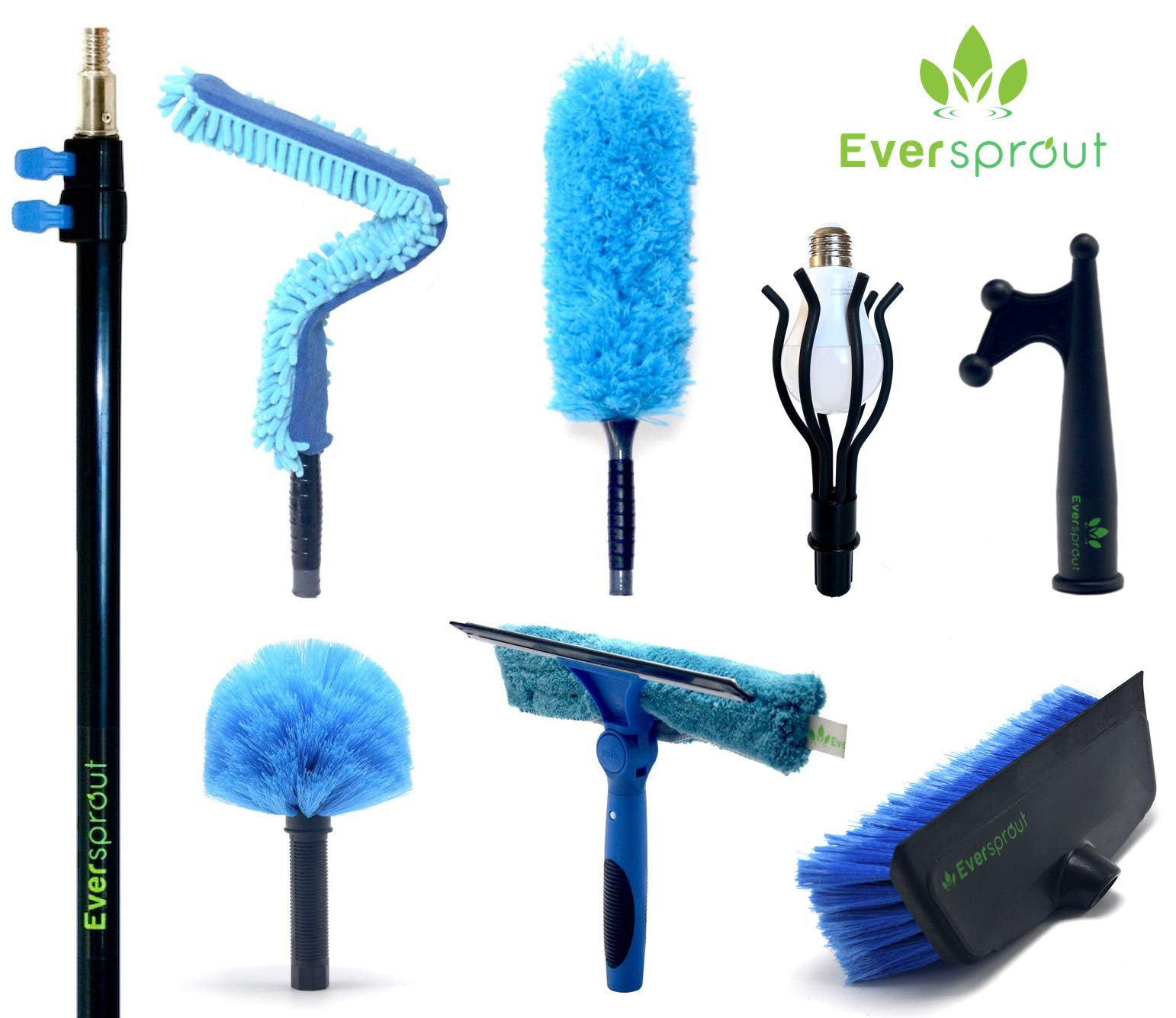 EVERSPROUT Extension Pole Total Kit (25+ Foot Reach) | Telescopic Pole, Scrub Brush, Light Bulb Changer, Utility Hook, Swivel Squeegee, 3X Microfiber Dusters (Cobweb, Flexible Ceiling Fan, Feather)